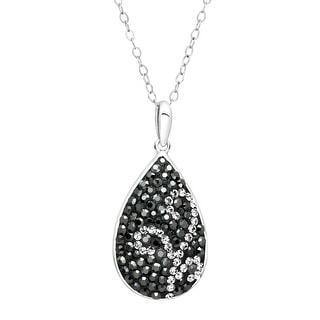 Crystaluxe Swirl Teardrrop Pendant with Swarovski Crystals in Sterling Silver - Black