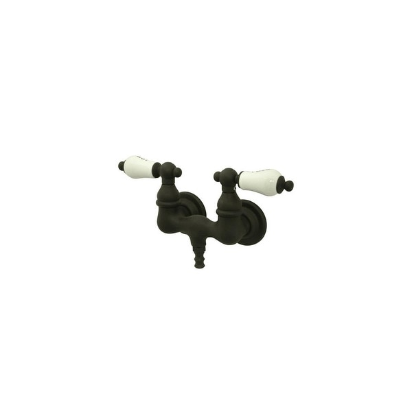 """Elements Of Design DT0315PL Double Handle Wall Mounted Clawfoot Tub Filler with 3-3/8"""" Center, 1-1/2"""" Spout Reach, Hot / Cold"""