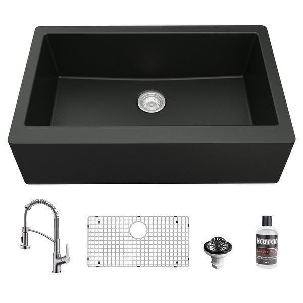 Karran All-in-One Farmhouse/Apron-Front Quartz 34 in. Single Bowl Kitchen Sink in Black with Faucet KKF210 in Stainless Steel. Opens flyout.