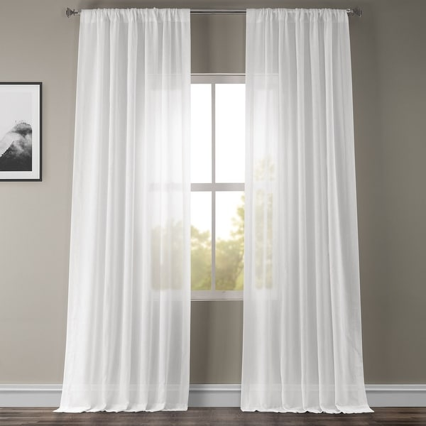 Exclusive Fabrics White Orchid Faux Linen Sheer Curtain Panel. Opens flyout.