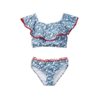 Azul Girls Blue Red The Natural Peasant Bikini Ruffled Top 2 Pc Swimsuit