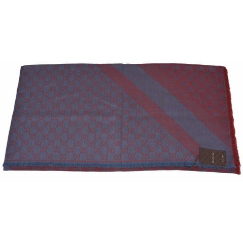 """Gucci 281942 XL Wool Silk Blue Red GG Guccissima Logo Scarf Shawl Wrap - blue red - 53"""" x 53"""""""