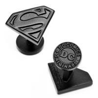 Satin Black Superman Shield Logo Cufflinks Officially Licensed