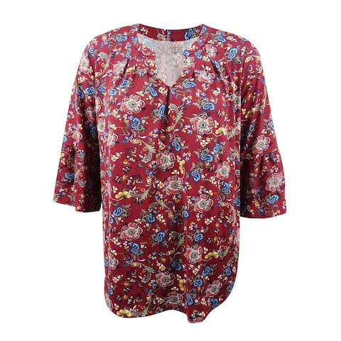 NY Collection Women's Plus Size Printed Ruffle-Sleeve Blouse - Red Asterpatch