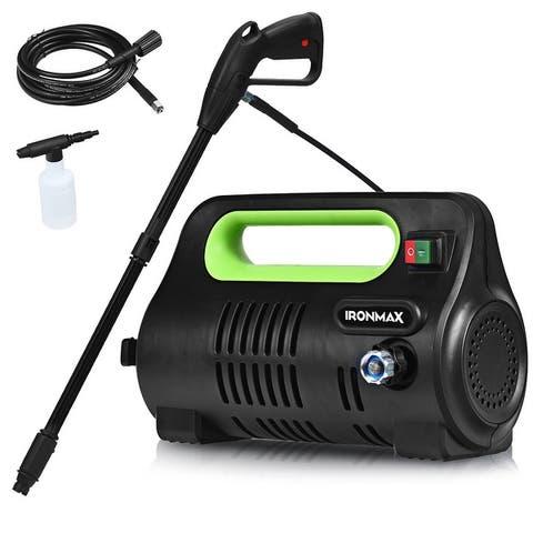 Costway 1800PSI Portable Electric High Pressure Washer 1.96GPM 1800W W/ Hose Reel Orange/Green