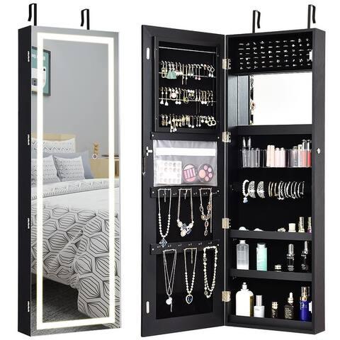 Jewelry Armoire Wall Door Mounted Lockable Jewelry Cabinet