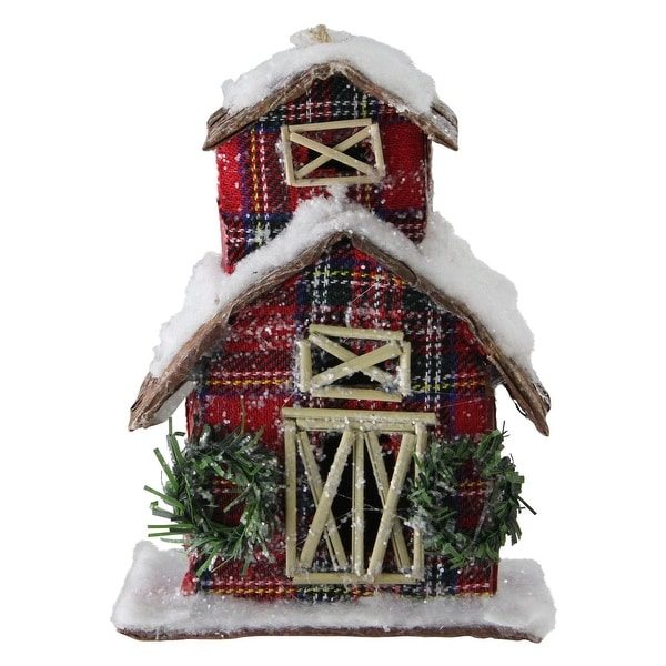 "5"" Classic Red Plaid Glitter Snow Covered Barn Christmas Ornament - WHITE"