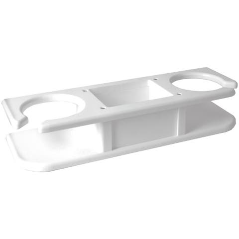 """TACO 2-Drink Poly Cup Holder w/""""Catch-All"""" - White"""