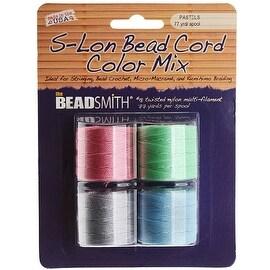 BeadSmith Super-Lon (S-Lon) Cord - Pastel Mix - Four 77 Yard Spools / Size 18 Cord