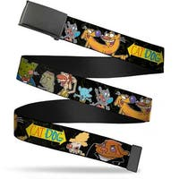 Blank Black Bo Buckle Catdog Group Pose Black Multi Color Webbing Web Web Belt