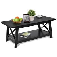 Gymax Coffee Table Rectangle Cocktail Side End