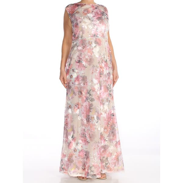 c14cc7a1e34f2 SLNY Womens Pink Embroidered Gown Floral Mesh Sleeveless Boat Neck Maxi  Evening Dress Size: 12