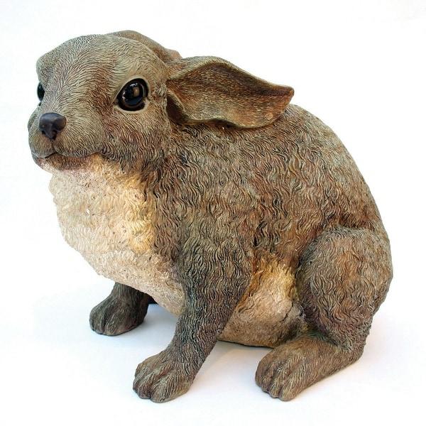 Bunny Rabbit Outdoor Garden Statue in Grey Brown Resin