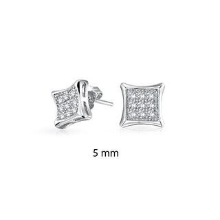 Bling Jewelry Kite Shaped White Unisex CZ Stud earrings 925 Sterling Silver 11mm