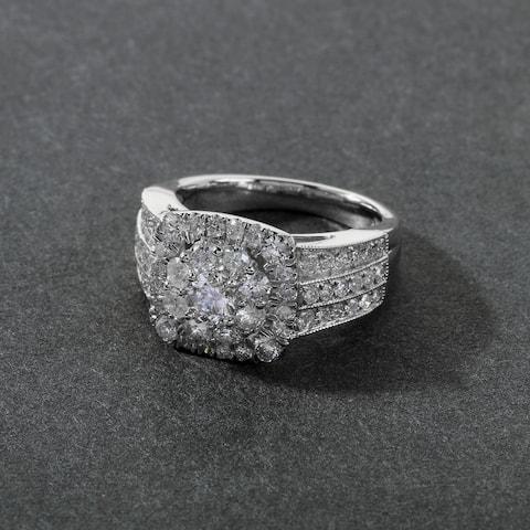 De Couer 2ct TDW Diamond Halo Engagement Ring - White H-I - White H-I