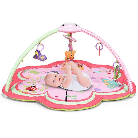 Costway Baby Activity Gym Play Mat w/ Hanging Toys Infant Tummy Time - Pink