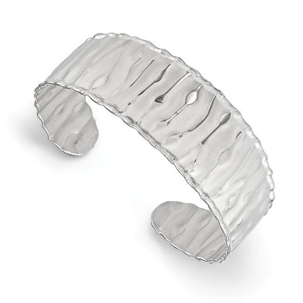 Italian Sterling Silver Rhodium-plated Scrunch Cuff Bangle