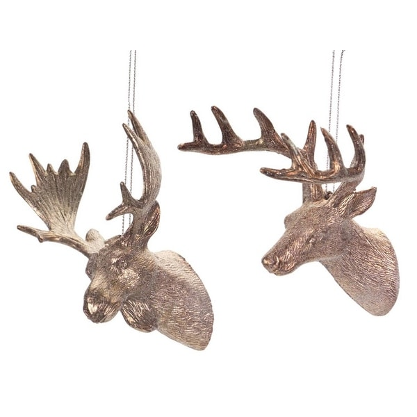 """Pack of 24 Bronze-Tone Glittered Deer and Moose Head Christmas Ornaments 5"""" - GOLD"""