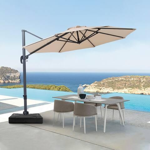 10 FT Patio Cantilever Umbrella Outdoor Hanging Offset Umbrella