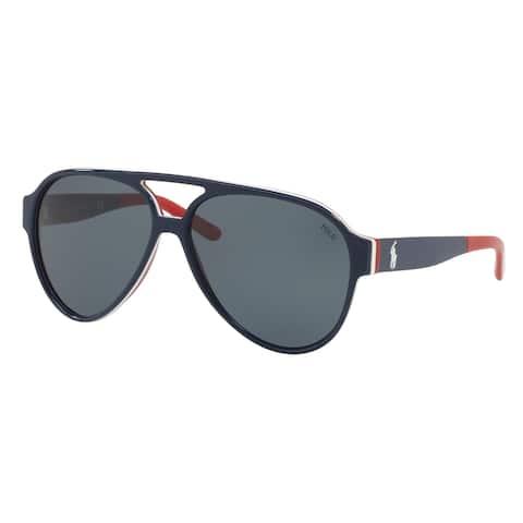 Polo Aviator Ph4130 566787 Mens Blue Frame Grey Lens Sunglasses