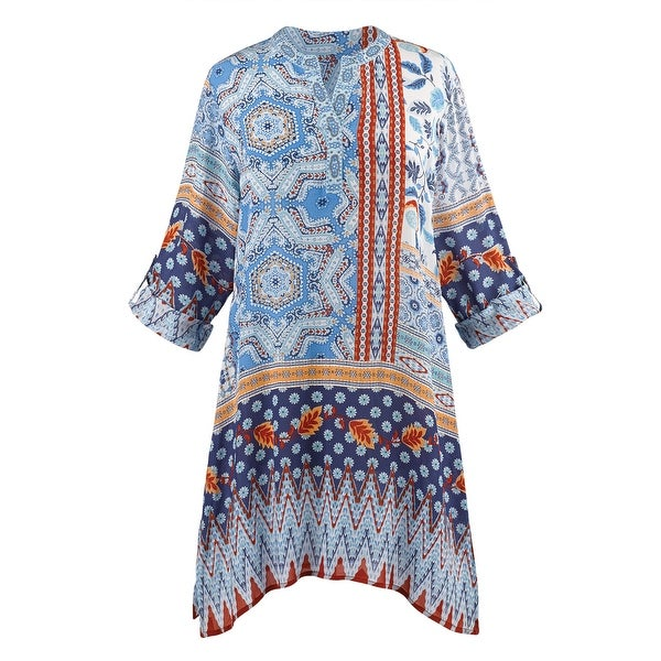Catalog Classics Embroidered Tunic Top - Mixed Geometric Patterns, 3/4 Sleeves