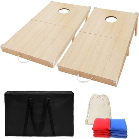 Foldable Wood Cornhole Set 4'x2' Cornhole Boards w/8 Cornhole Bean Bags, 2 Cornhole Scoreboards and 2 Silicone Corners