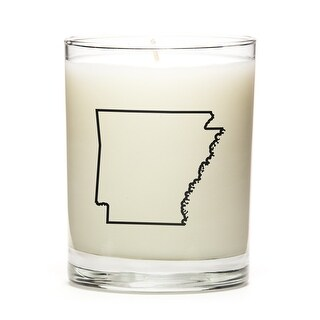 State Outline Soy Wax Candle, Arkansas State, Peach Belini
