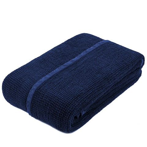 STP-Goods Blue Linen Throw Blanket