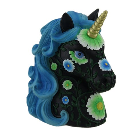 Lovely Black and Bright Blue Floral Design Unicorn Coin Bank