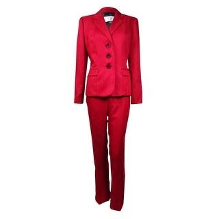 Le Suit Women's Prague Herringbone 3-Button Pant Suit (2P, Crimson)