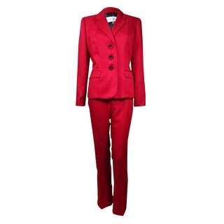 Le Suit Women's Prague Herringbone 3-Button Pant Suit (2P, Crimson) - Crimson - 2p
