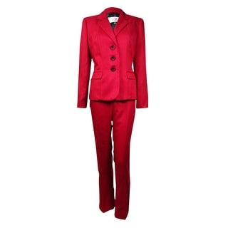 Le Suit Women's Prague Herringbone 3-Button Pant Suit (8P, Crimson)