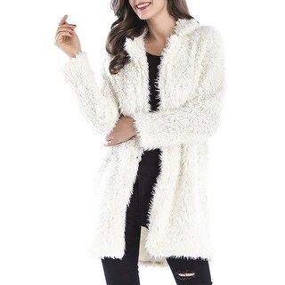 QZUnique Women Shaggy Long Faux Fur Coat Jacket Outwear