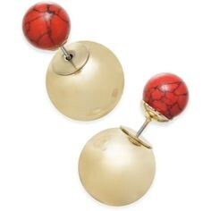 Inspired Life Metallic Ball and Stone Bead Front and Back Earrings