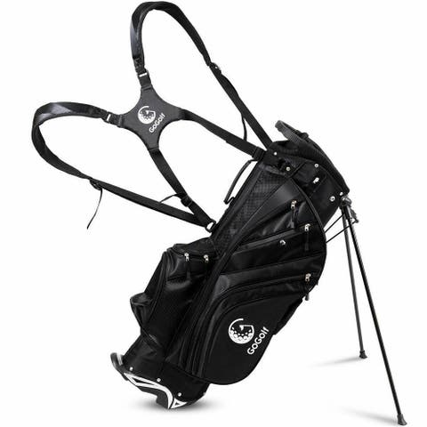 NewAge Portable Large Capacity Lightweight Golf Stand Cart Bag W/Rain Cover