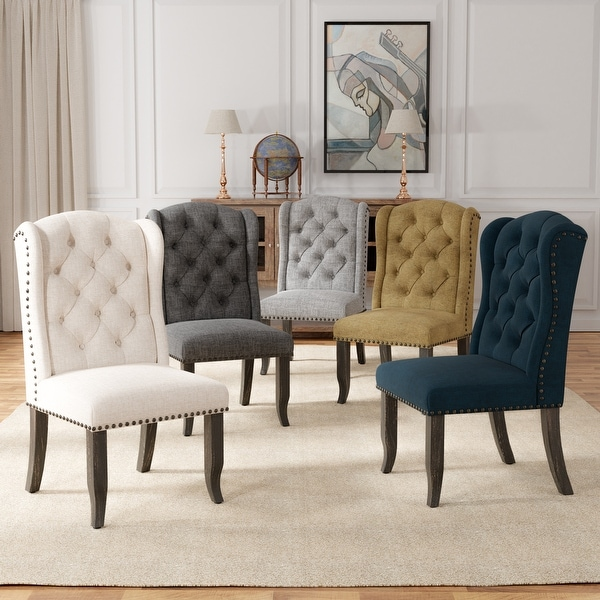 Furniture of America Tays Rustic Linen Dining Chairs (Set of 2). Opens flyout.