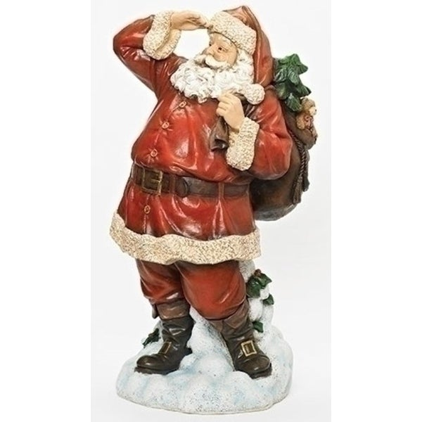 "26"" Red and White Santa Searching for Reindeer Christmas Table Top Figure"
