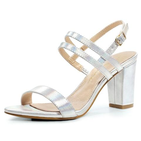 Womens Open Toe Slingback Block Heel Ankle Strap Sandals Silver US 7