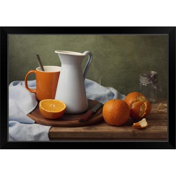 """Still life with tangerines"" Black Framed Print"