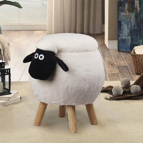White sheep Animal ottoman with storage Footrest/Foot Stool/Kids Ride on Ottoman