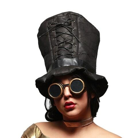 Gothic Corset Trim Tall Soft Steampunk Hat & Googles Set