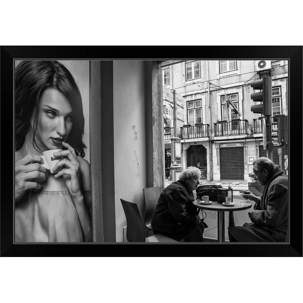 """Coffee's Conversations"" Black Framed Print"