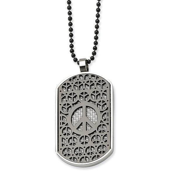 Chisel Stainless Steel Black Plating & White Carbon Fiber Peace Symbol Dogtag 24 Inches (1 mm) - 24 in