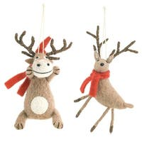 Club Pack of 12 Brown and Red Christmas Decorative Hanging Animal Ornament 7.5""