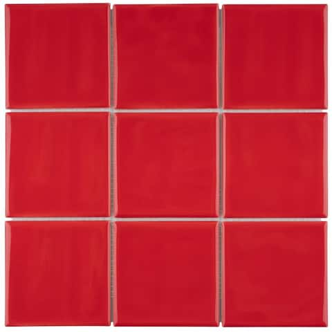 SomerTile 11.75x11.75-inch Curve Square Red Cherry Ceramic Mosaic Wall Tile