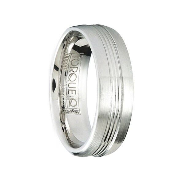 CORTEX Brushed Cobalt Men's Wedding Ring with Polished Grooves by Crown Ring - 7mm