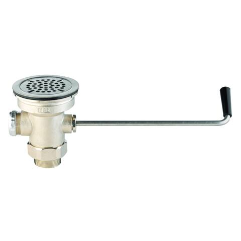 """T and S Brass B-3952 3-1/2"""" Waste Drain Valve with Twist Handle and 2"""" NPT Male x 1-1/2"""" NPT Female Outlet Connection"""