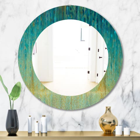 Porch & Den 'Rain Abstract Panel' Modern Bathroom Mirror - Blue
