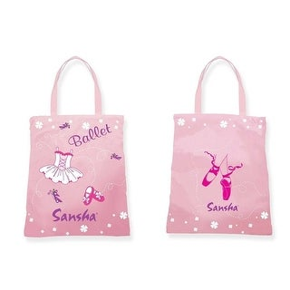 Sansha Girls Pink Ballet Pointe Shoes Dress Print Dance Tote Bag - One size
