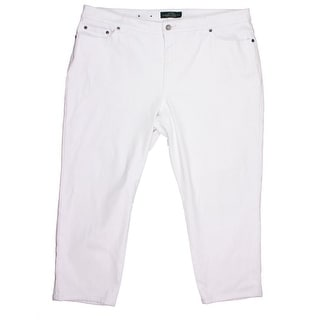 LRL Lauren Jeans Co. Womens Plus Classic Rise Straight Leg Cropped Jeans